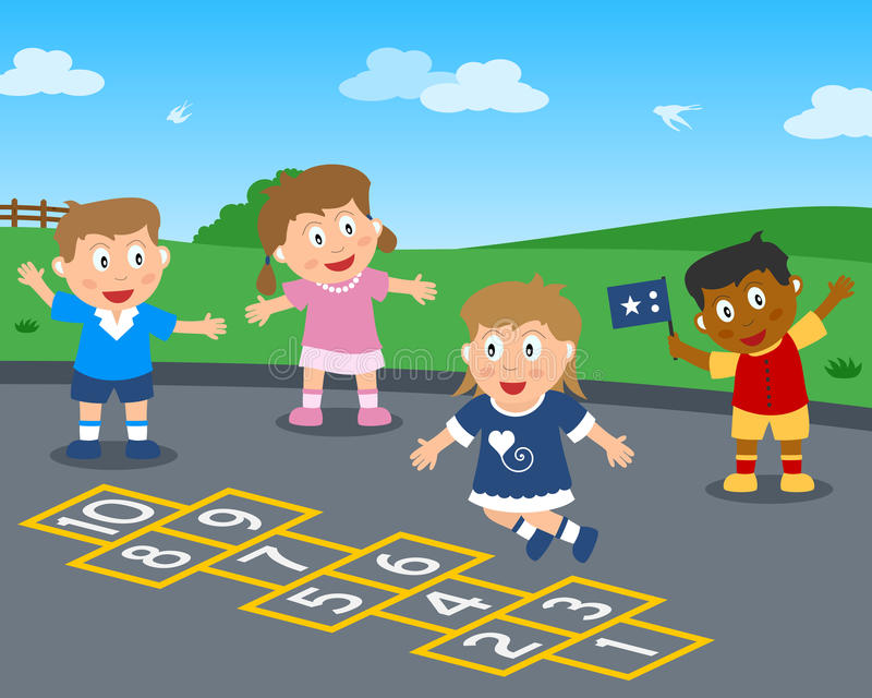Hopscotch in the Park royalty free illustration