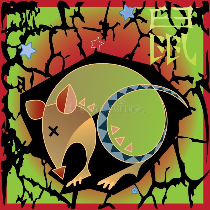 Horóscopo animal - rata stock de ilustración