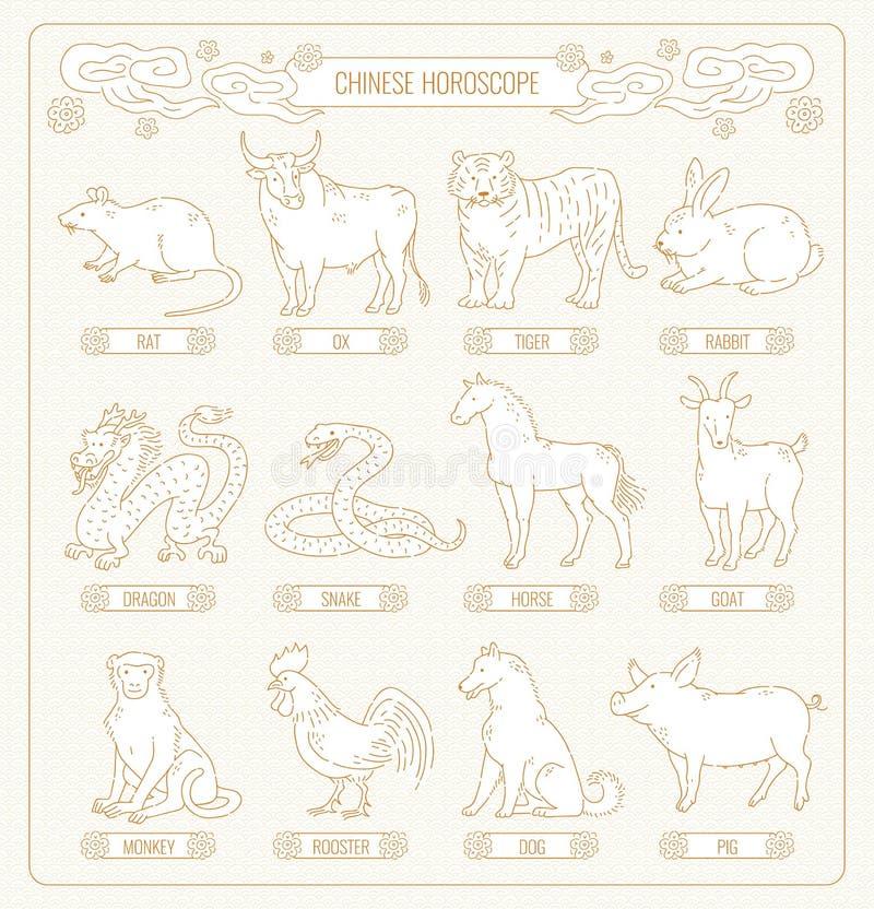 Horóscopo chinês do vetor da linha arte de doze animais Esboço asiático do ouro do teste padrão do calendário astrológico orienta ilustração royalty free