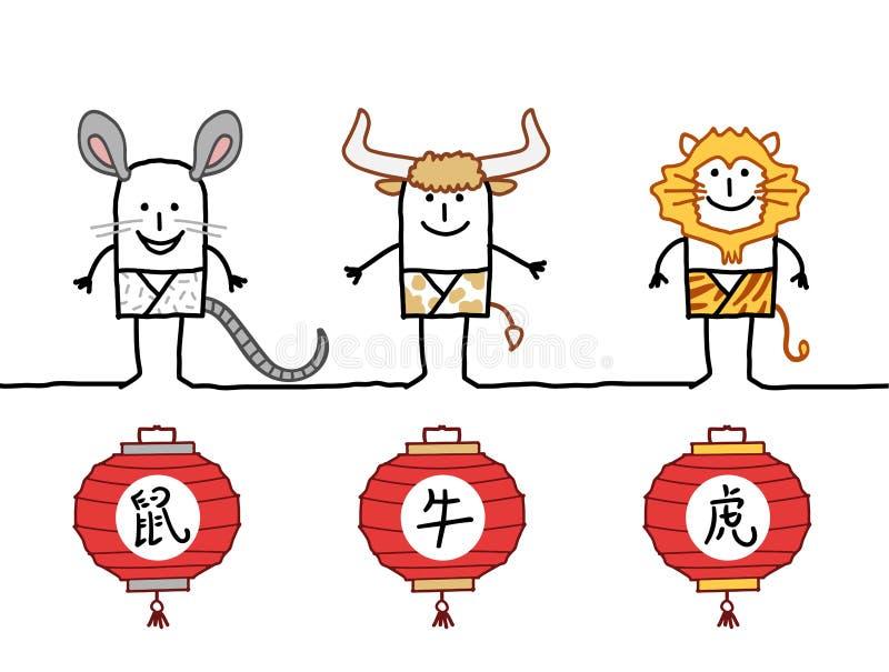 Horóscopo chino 1 stock de ilustración
