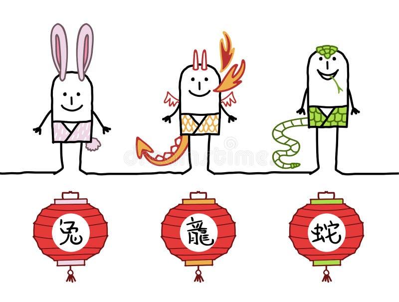 Horóscopo chino 2 ilustración del vector
