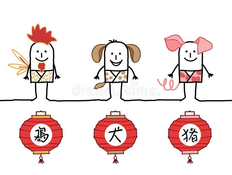 Horóscopo chino 4 stock de ilustración