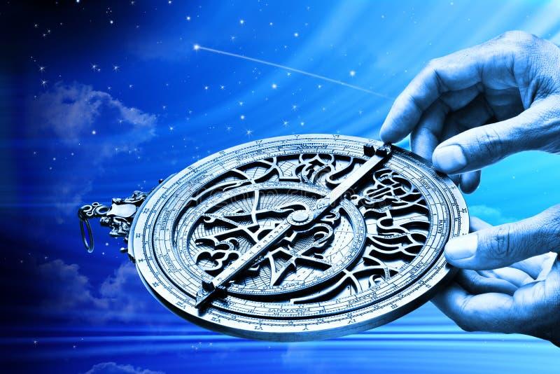 Horóscopo de la muestra de la estrella de la astrología del astrolabio fotos de archivo libres de regalías