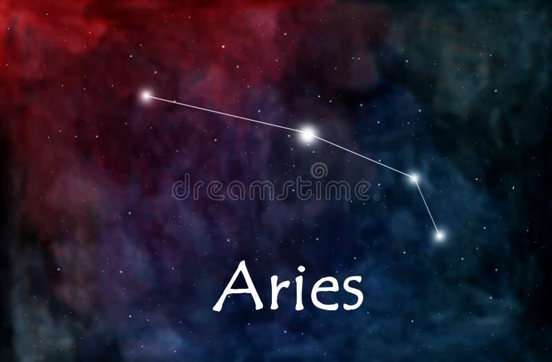 Horóscopo del aries o ejemplo del zodiaco o de la constelación ilustración del vector