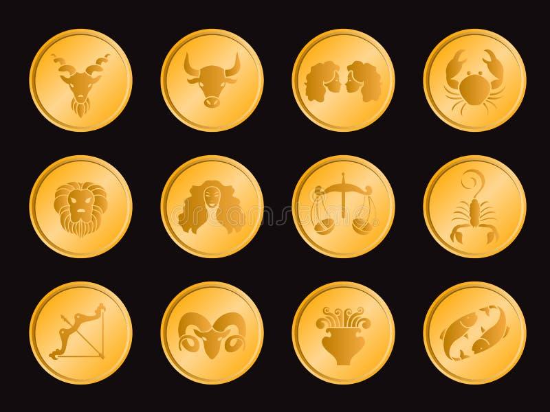 Horóscopo en diseño determinado del vector de la muestra del icono de la moneda del círculo del oro stock de ilustración