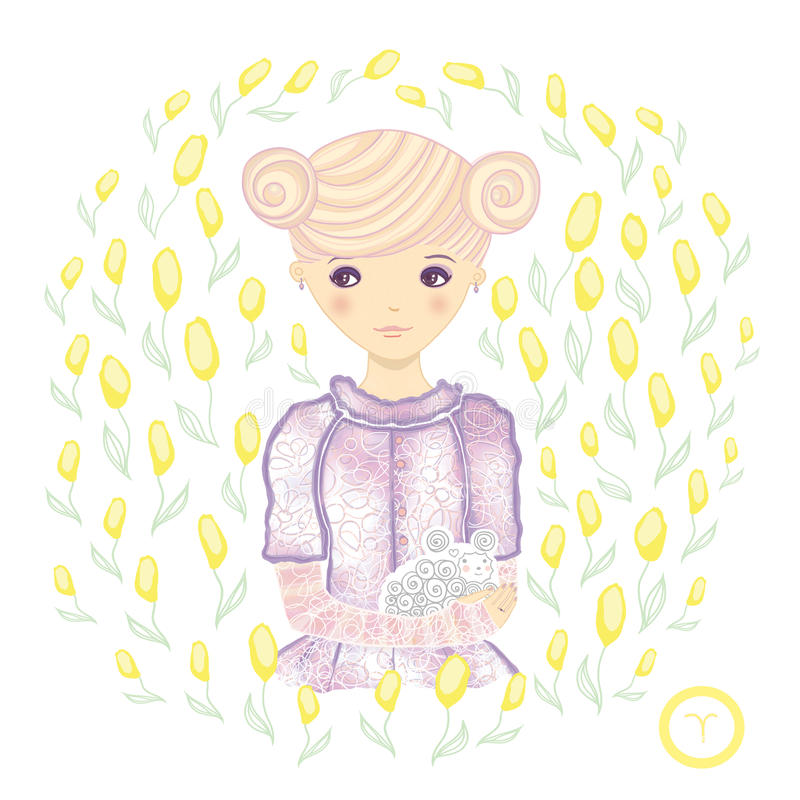Horóscopo. Muestra-Aries del zodiaco. stock de ilustración
