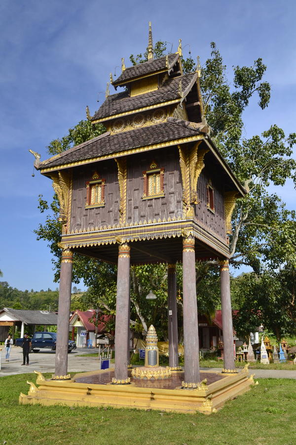 Hor Tri้HallWat Si Po Chai,Na Haeo District,Loei Province,Thailand. Wat Si Po Chai is locatedeven closer to the border country with Laos close to the royalty free stock photos