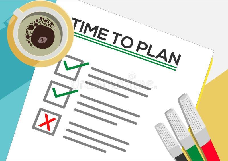 Hora conceito do ícone de planejar ou planejar Uma tarefa falhou Folhas de papel com marcas de verificação, texto abstrato e marc ilustração do vetor