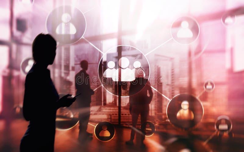 Hora - Concepto de la gestión de recursos humanos en fondo borroso del centro de negocios Hombres de negocios por la ventana libre illustration
