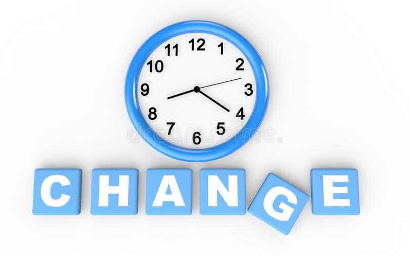 hora 3d para o conceito da mudança ilustração royalty free