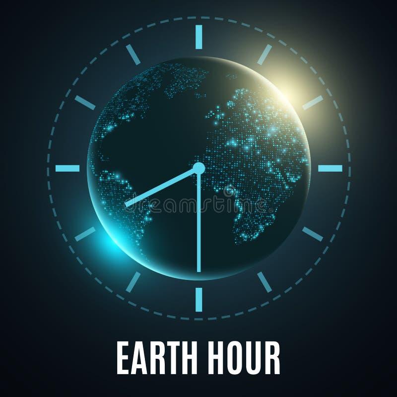 Hora da terra Terra futurista do planeta 60 minutos sem eletricidade NASCER DE O SOL Feriado global Mapa de mundo abstrato Illust ilustração do vetor