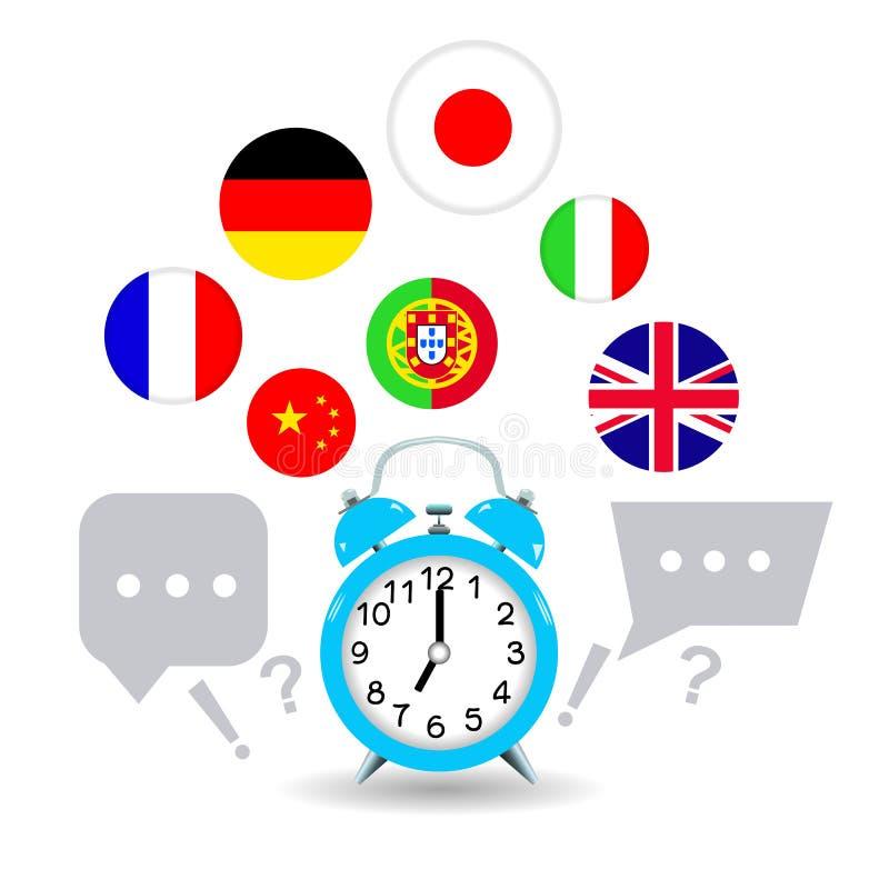 Hora de aprender idiomas extranjeros Despertador y otros idiomas libre illustration