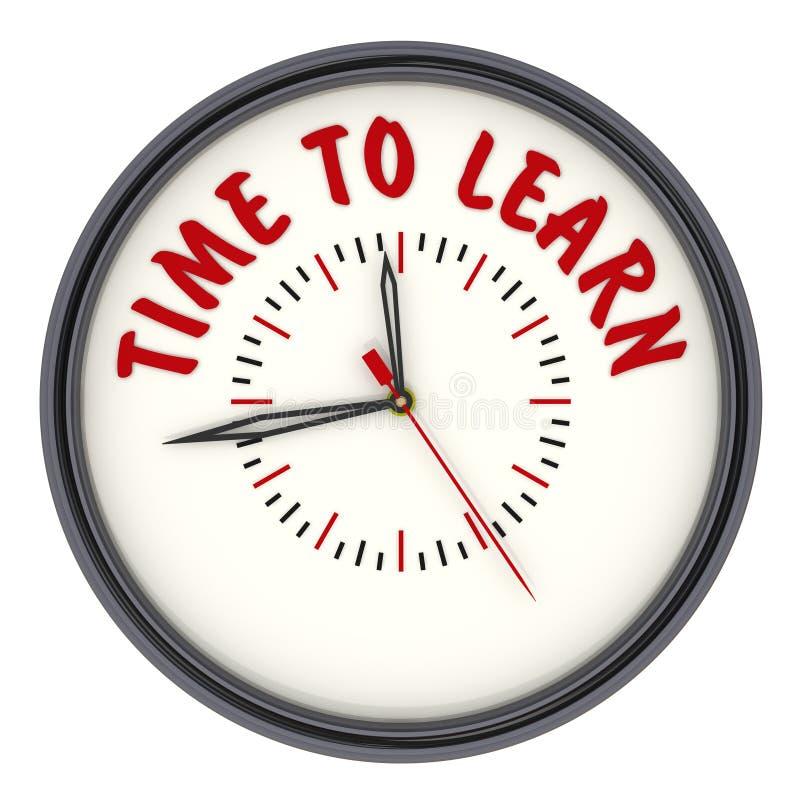Hora de aprender Reloj con el texto stock de ilustración