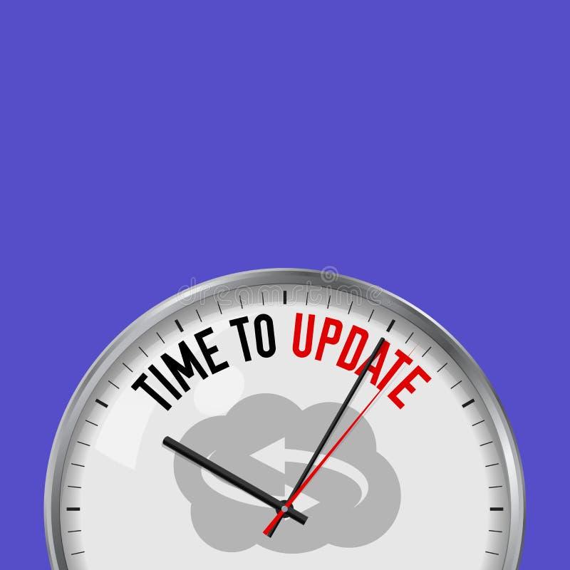 Hora de atualizar Pulso de disparo branco do vetor com slogan inspirador Relógio análogo do metal com vidro Ícone da atualização  ilustração stock