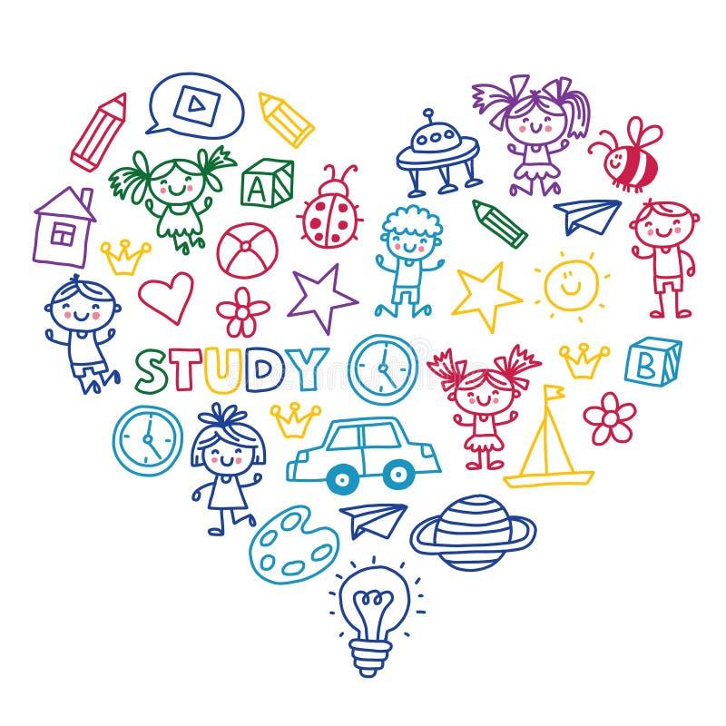 Hora de aventurarse a los niños preescolares de la escuela de la pequeña de niños de la creatividad de la imaginación del juego g ilustración del vector