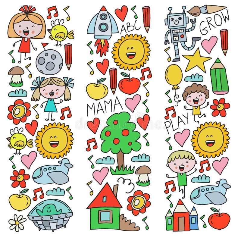 Hora de aventurarse Niños de la creatividad de la imaginación los pequeños juegan a los niños preescolares de la escuela de la gu ilustración del vector