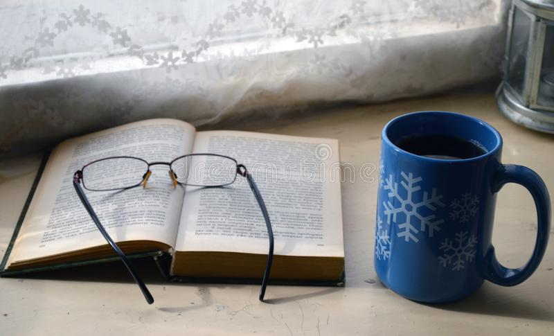 Hora de beber o chá e ler um livro interessante imagem de stock