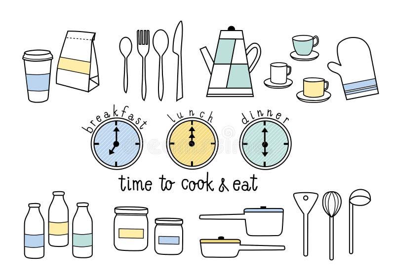Hora de cocinar y de comer ilustración del vector