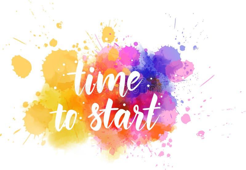 Hora de comenzar - el mensaje de motivación stock de ilustración