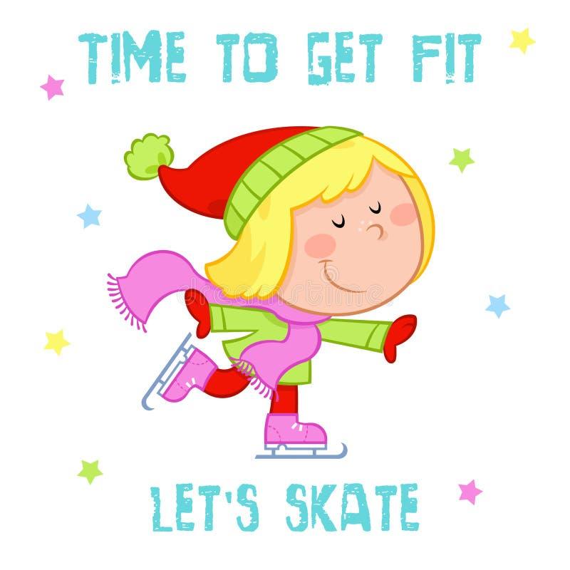 Hora de conseguir ajuste - deportes adorables de la niña y de invierno - patinaje de hielo ilustración del vector