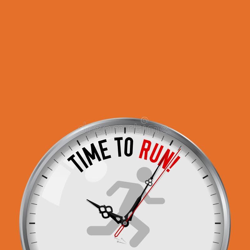 Hora de correr Pulso de disparo branco do vetor com slogan inspirador Relógio análogo do metal com vidro Ícone do corredor ilustração stock