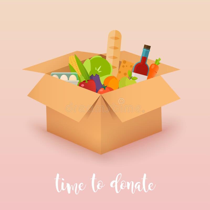 Hora de doar Doação do alimento Caixas completamente do alimento Conceito do vetor ilustração royalty free