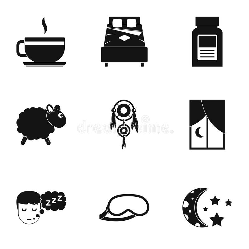 Hora de dormir sistema del icono, estilo simple libre illustration