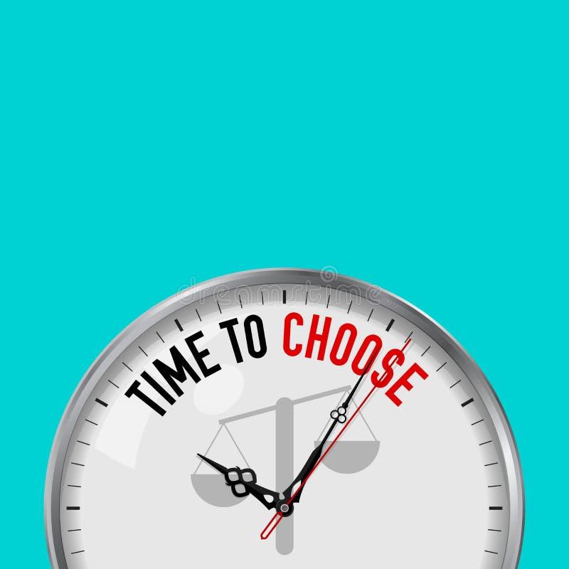 Hora de escolher Pulso de disparo branco do vetor com slogan inspirador Relógio análogo do metal com vidro Escala o ícone ilustração do vetor