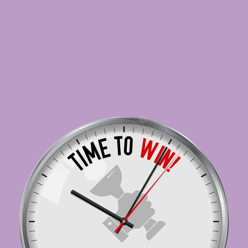 Hora de ganhar Pulso de disparo branco do vetor com slogan inspirador Relógio análogo do metal com vidro Mão com ícone do copo do ilustração stock