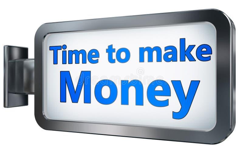 Hora de hacer el dinero en fondo de la cartelera ilustración del vector