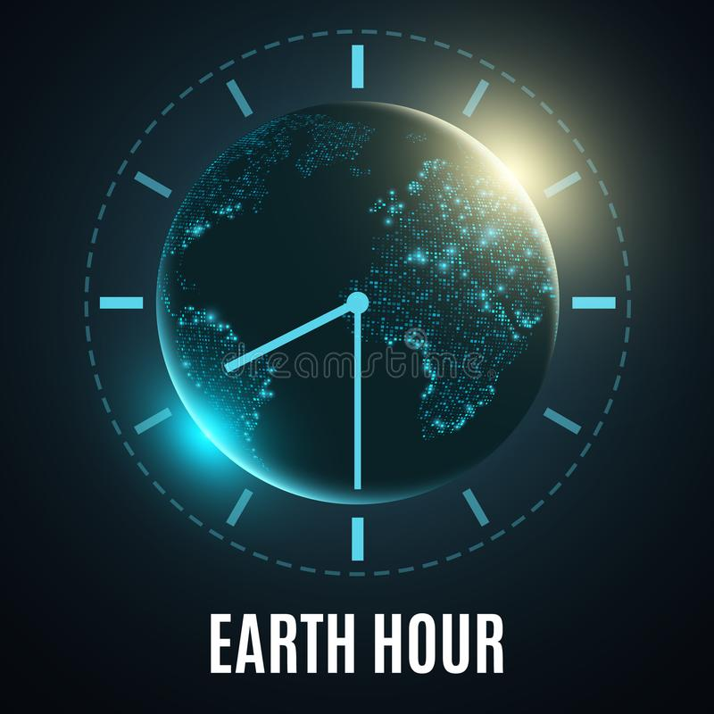Hora de la tierra Tierra futurista del planeta 60 minutos sin electricidad Salida del sol Día de fiesta global Correspondencia de ilustración del vector