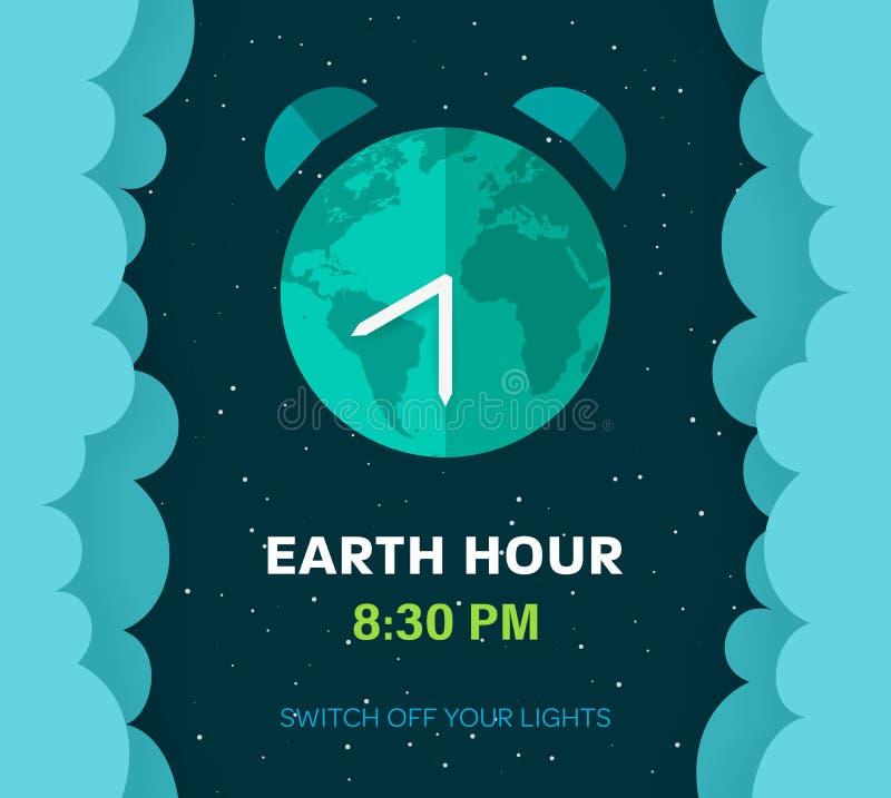 Hora de la tierra Planeta plano de la tierra de la historieta en espacio Fondo estrellado del cielo con las nubes y el globo mull ilustración del vector