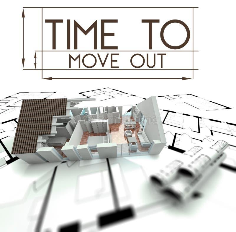 Hora de mover-se para fora com projeto da casa ilustração do vetor