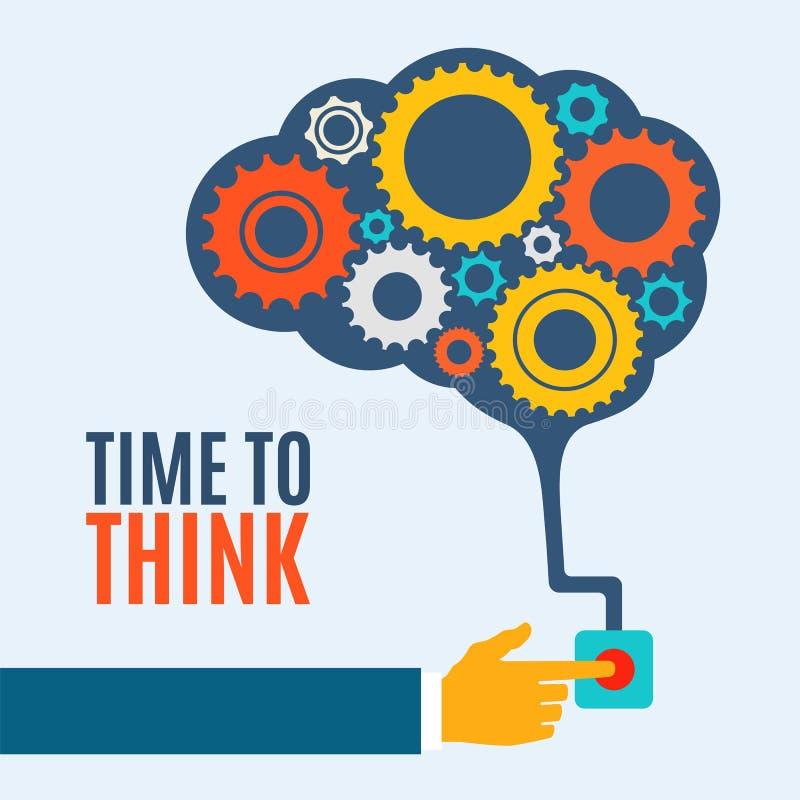 Hora de pensar, concepto creativo de la idea del cerebro, ilustración del vector