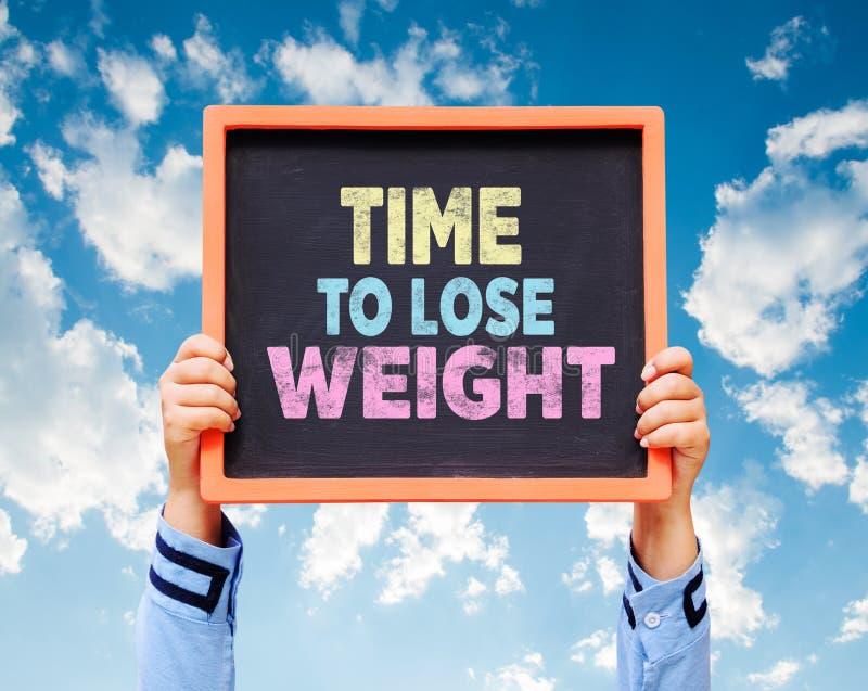 Hora de perder o peso, palavra no quadro imagem de stock