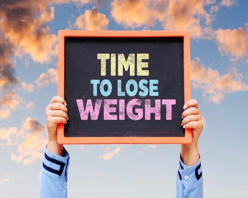 Hora de perder o peso, palavra no quadro fotografia de stock royalty free