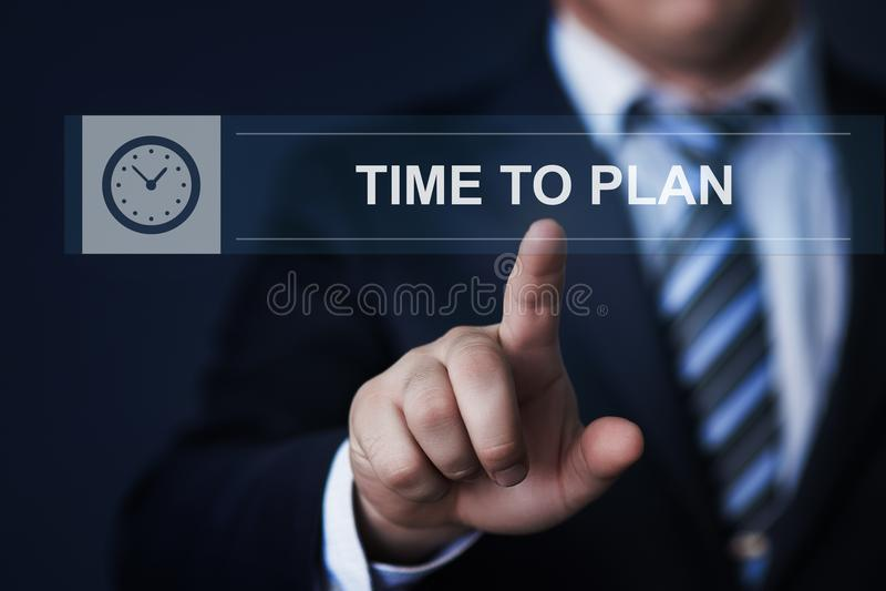 Hora de planear concepto de Internet de la tecnología del negocio de la meta del proyecto del éxito de la estrategia imágenes de archivo libres de regalías