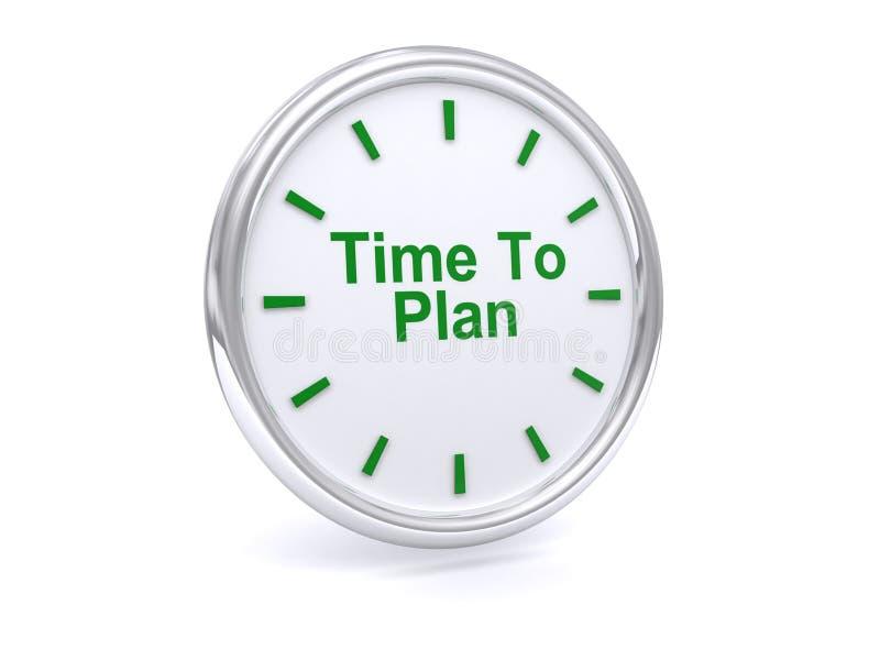 Hora de planear en cara de reloj ilustración del vector