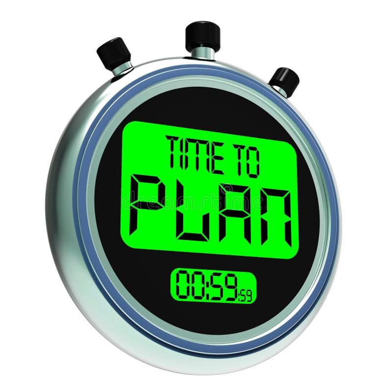 Hora de planear Messager que mostra a estratégia e planear de organização ilustração stock