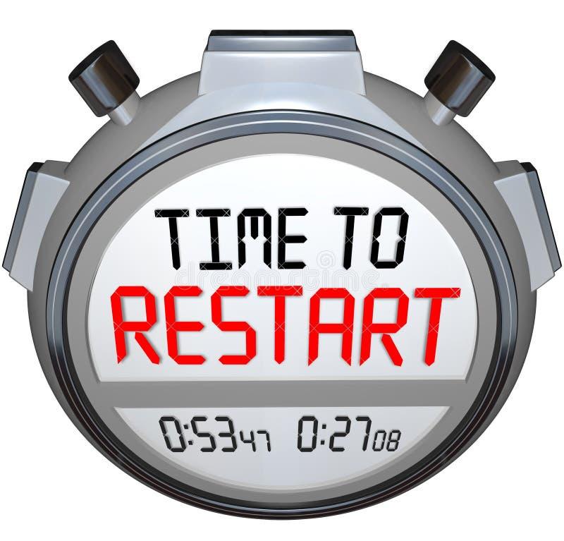 A hora de reiniciar o temporizador do cronômetro refaz refresca reinventa ilustração stock