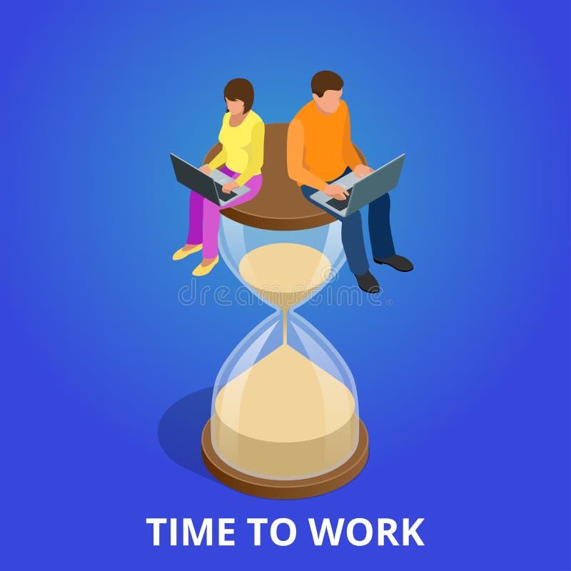Hora de trabalhar ou de gestão de tempo programação do plano do projeto ilustração royalty free