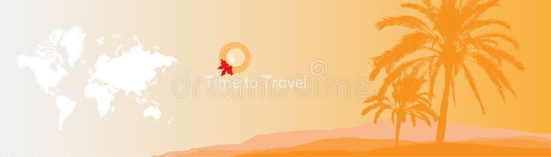 Hora de viajar Bandeira com as silhuetas de palmeiras e do mapa do mundo tropicais em um fundo alaranjado para o turismo ilustração do vetor