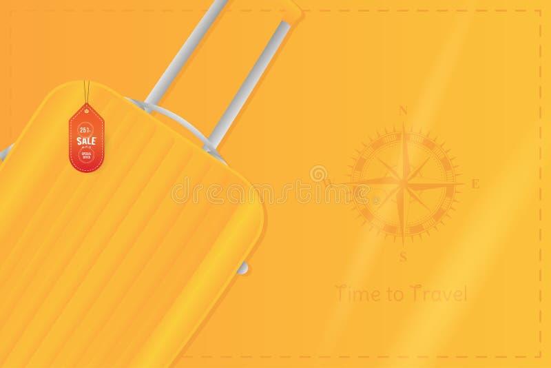 Hora de viajar Bandera con la venta y la oferta especial 25 en el turismo Bolso plástico del viaje con el compás del vintage en u ilustración del vector