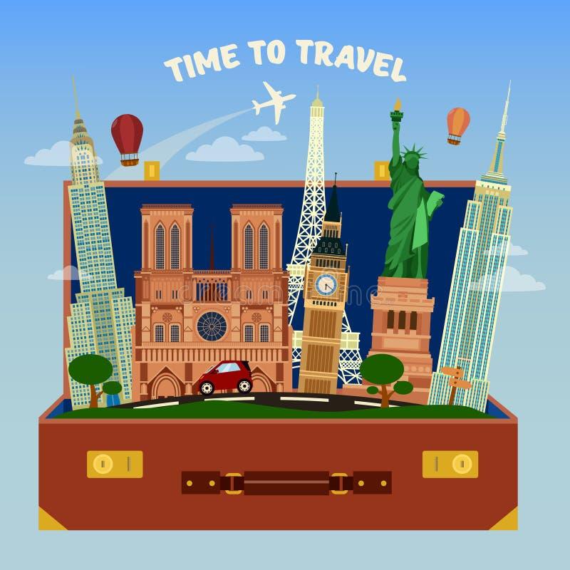 Hora de viajar bandera Maleta por completo de lugares famosos stock de ilustración