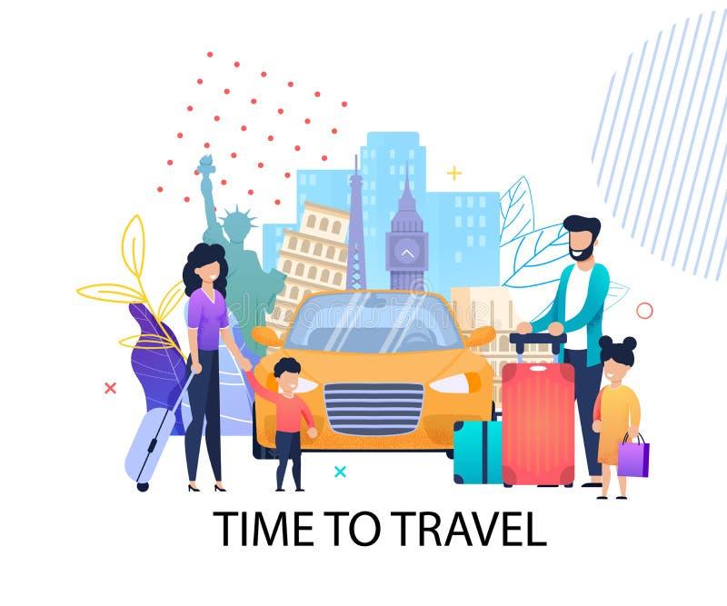 Hora de viajar bandera plana de la motivación para la familia ilustración del vector