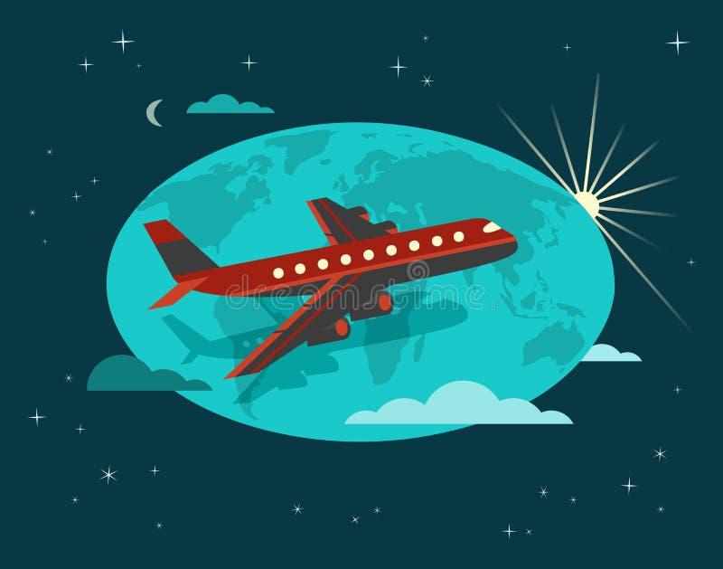 Hora de viajar cartaz ilustração royalty free