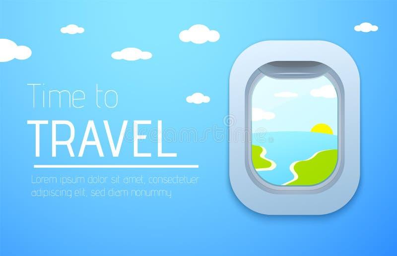 Hora de viajar cartaz do projeto Vista do avião Indicador plano ilustração royalty free