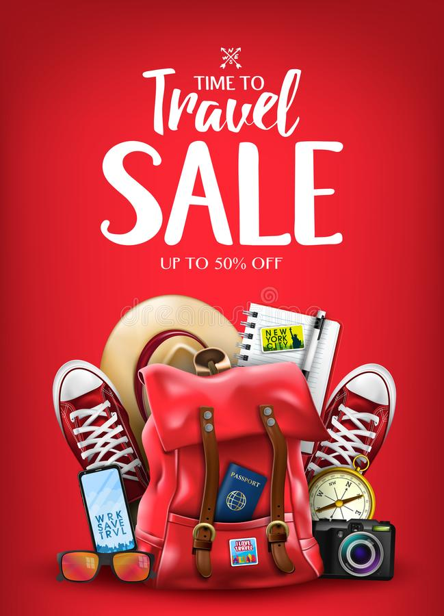 Hora de viajar cartel de la venta para el anuncio con los artículos realistas que viajan 3D stock de ilustración