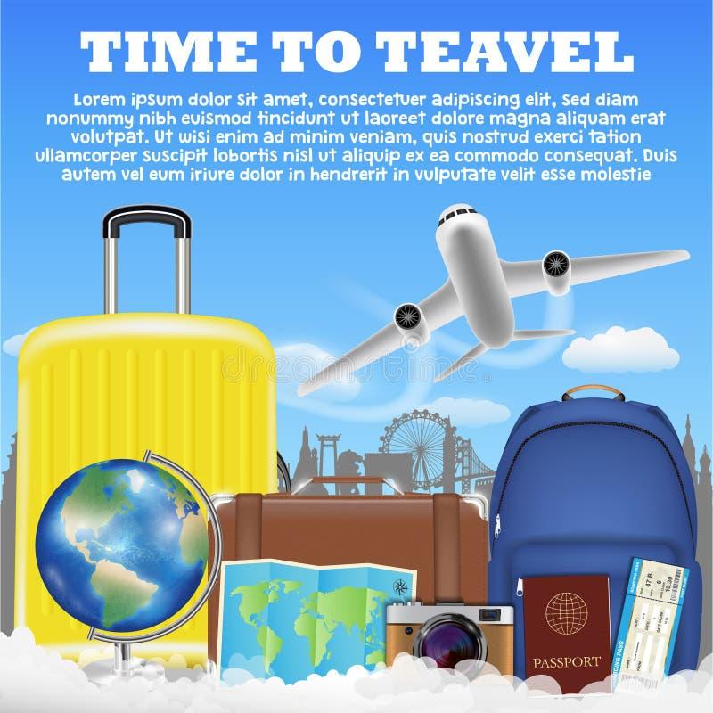 Hora de viajar con el bolso del equipaje de la maleta del aeroplano stock de ilustración