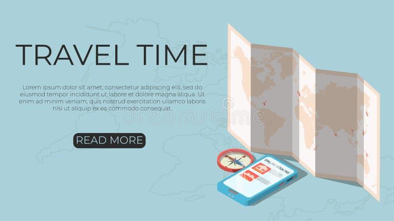 Hora de viajar concepto de la plantilla ilustración del vector